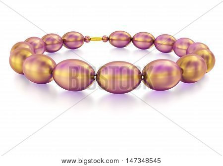 Purple glass beads with gold sheen and reflection. 3D rendering.