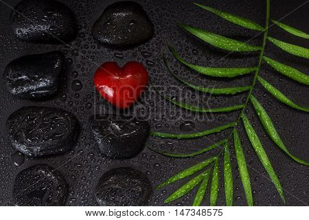 Wet Red Heart Shaped Stone With Black Basalt Stones And Green Leaf, On Black Background With Water D