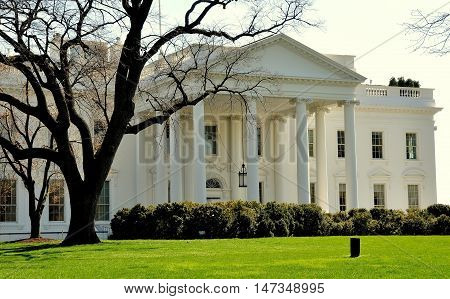 Washington DC - April 10 2014: The North front of the White house with its grand portico and entrance door