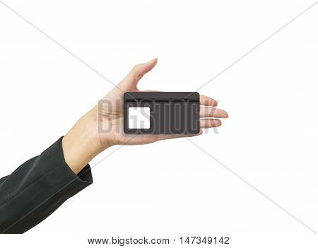 Closeup smart card in business woman hand isolated on white background with clipping path