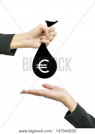 Closeup working woman hand give money bag in euro currency to another people hand hold out to receive isolated on white background in business concept with clipping path