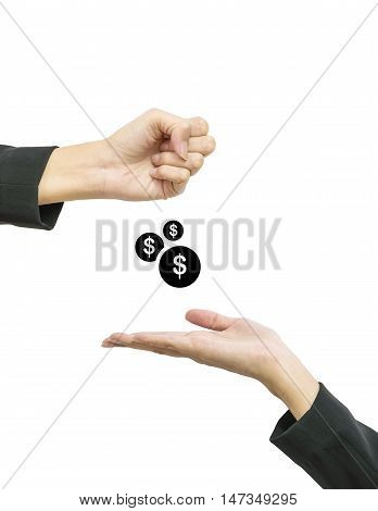 Closeup working woman hand give coin in us dollar to another people hand hold out to receive isolated on white background in business concept with clipping path