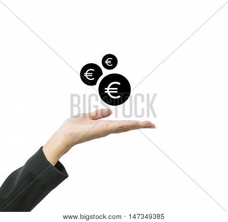 Closeup working woman hand hold out to receive coin in euro currency isolated on white background in business concept with clipping path