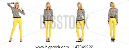Young Sexy Blond Woman In Leopard Pullover Isolated