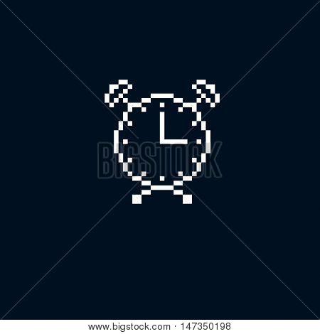 Vector Pixel Icon Isolated, 8Bit Graphic Element. Simplistic Alarm Clock Sign, Time Idea.