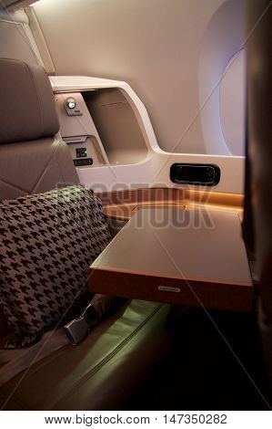New Business Class seat in an airplane