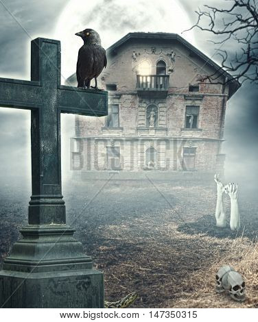 Halloween Mystical Spooky Background With Cross And Haunted House