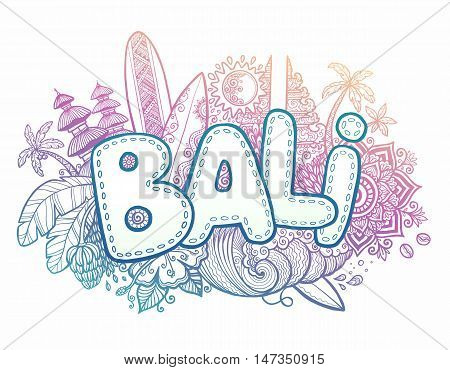 Blue and pink colors vector Bali sign on hand drawn doodle style symbols of Bali island - temples, flowers, palms, waves and surfing boards