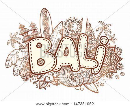 Henna colors vector Bali sign on hand drawn doodle style symbols of Bali island - temples, flowers, palms, waves and surfing boards