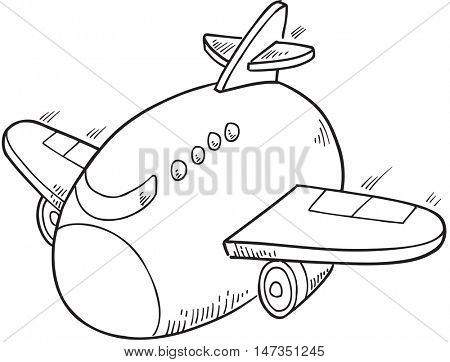 Cute Doodle Jet Vector Illustration Art