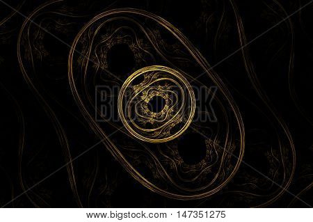 fantasy fractal pattern in the center of the yellow circle with a black hole, around a vintage pattern in the oval dark yellow and round abstract pattern tale