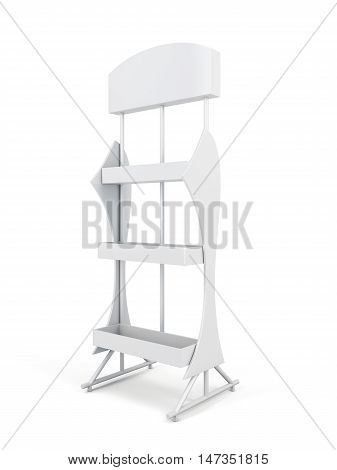 Stand With Shelves Isolated On White Background. 3D Rendering.