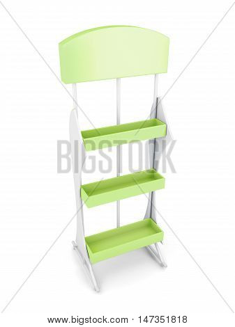 Stand With Shelves Isolated On White Background. 3D Render Image