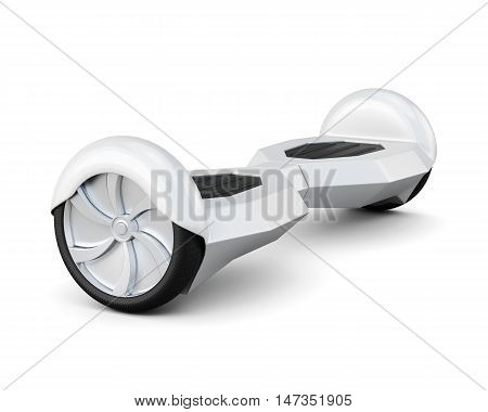 Self-balancing two-wheeled board on a white. 3d rendering.