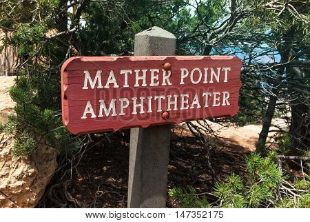 Mather Point Amphitheater Sign at South Rim of Grand Canyon National Park Arizona USA