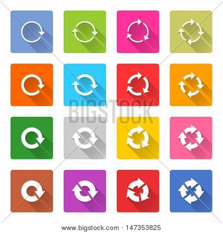 Flat arrow icon 16 set rounded square web button on white background. Refresh reload synchronize loop reset rotation repeat sugn. Vector illustration internet design graphic element 10 eps