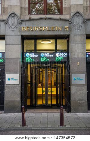 AMSTERDAM - JUL 27 2012: Amsterdam Euronext entrance. This stock exchange is considered the oldest in the world. It was established in 1602 by the VOC.