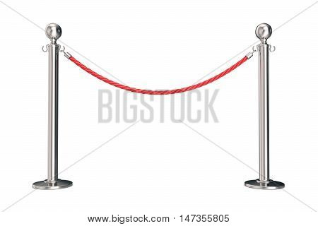 Silver barrier with red rope. 3d illustration isolated on white.