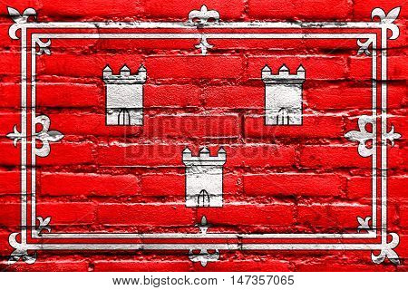 Flag Of Aberdeen, Scotland, Painted On Brick Wall