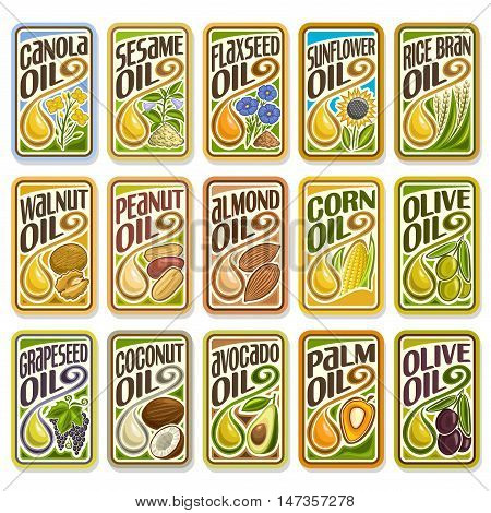 Vector logo Sunflower and Olive Oil, collection set labels sign Cooking and Frying palm and corn oil, sticker yellow oily drop, icon grain, nuts, fruits. Banners, posters with cooking and frying oils.