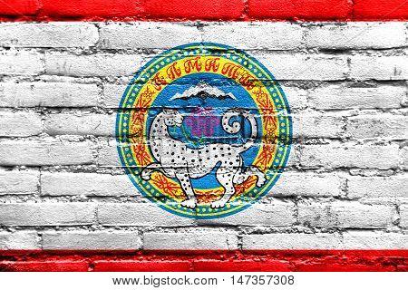 Flag Of Almaty, Kazakhstan, Painted On Brick Wall