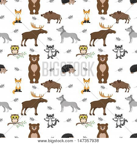Pattern for seamless background owl, fox, bear, mouse, elk, pig, wolf, hedgehog and raccoon.