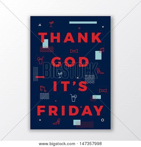 Thank God its Friday Swiss Style Minimal Poster or Flyer. Modern Typography Concept. Abstract Elements. Soft Realistic Shadow. Isolated.