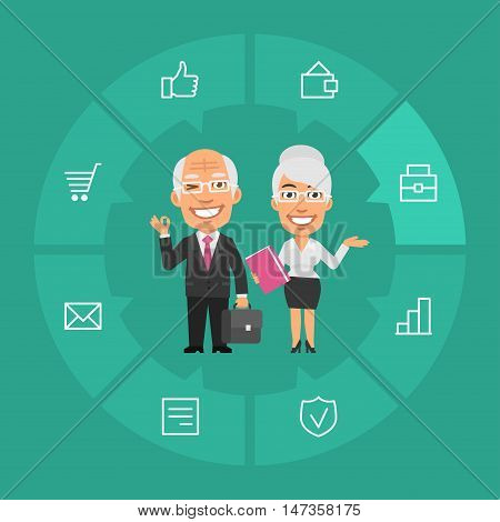 Vector Illustration, Concept Old Businessman and Businesswoman, Format EPS 8
