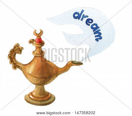 Hand watercolor illustration of magical Aladdin's genie lampon white background