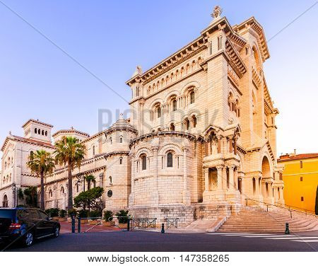 Exterior of the Monaco Cathedral in Monaco-Ville. Beautiful bright church in the last rays of the sun. Cathedrale de Monaco.