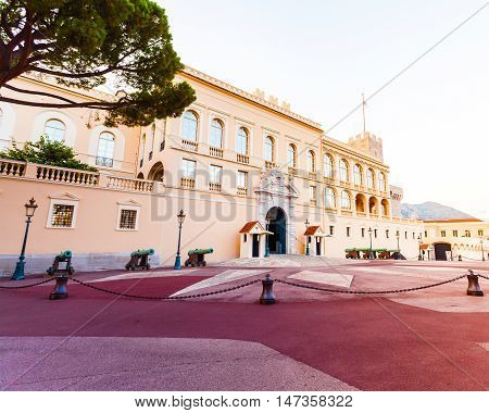 Beautiful building of Prince's Palace in Monaco-ville in the evening, Monaco
