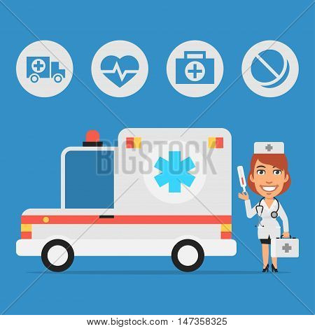 Vector Illustration, Woman Doctor and Ambulance Car, Format EPS 8