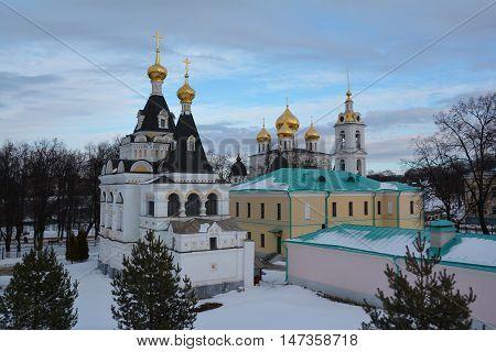 Snowy Kremlin of the ancient Dmitrov, Russia