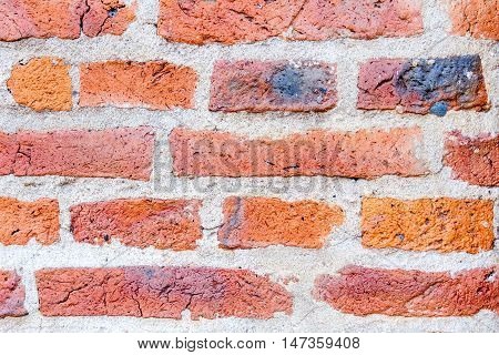 Old vintage red brick wall background surface