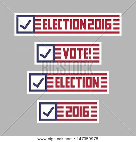United States of America presidential election banner badges. Vote logo vector graphic design elements. Red & blue flag color campaign sign label set.