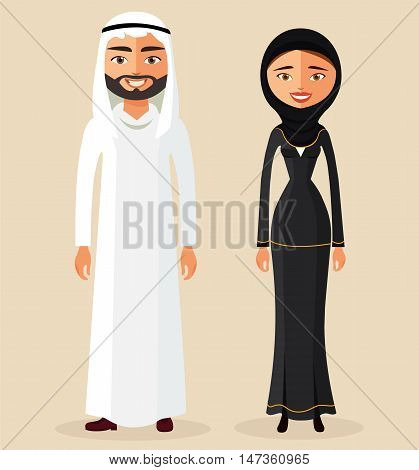 Arabic man male and woman female together in traditional national clothes dress costume flat cartoon vector illustration. Eps10. Isolated on a white background.