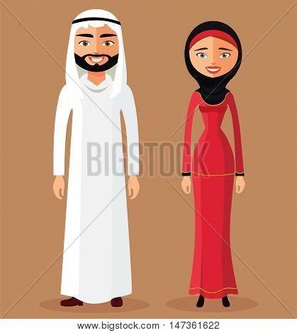 Arabic people, arab woman, arabian man flat cartoon vector illustration. Eps10. Isolated on a white background.