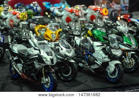 SERDANG, MALAYSIA -JULY 30, 2016: Miniature of motorcycle model set on the table.