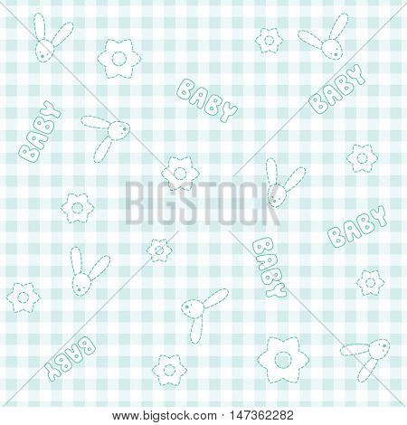 Baby birthday pattern, baby shower background with flowers and rabbits