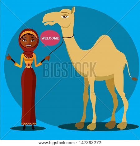 bedouin woman walking, leading a camel. Flat surprised business woman throwing up his hand.