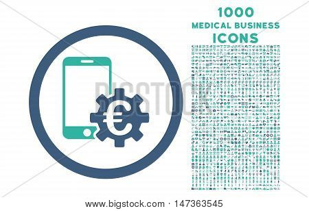 Configure Mobile Euro Bank rounded vector bicolor icon with 1000 medical business icons. Set style is flat pictograms, cobalt and cyan colors, white background.