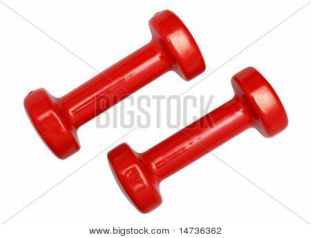 Two Red Dumbbells Isolated Over White