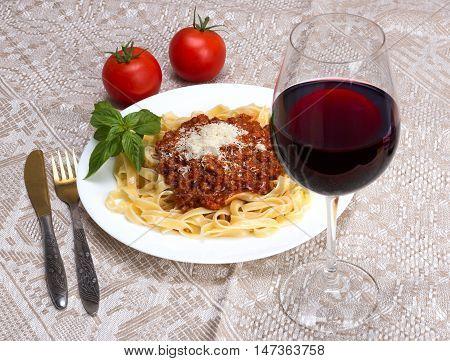 Tagliatelle Al Ragu Bolognese And Wine Chianti