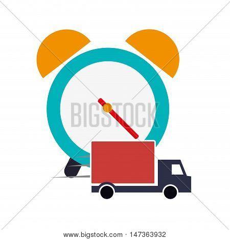 flat design alarm clock and  truck van icon vector illustration