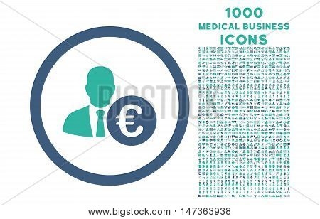 Euro Banker rounded vector bicolor icon with 1000 medical business icons. Set style is flat pictograms, cobalt and cyan colors, white background.
