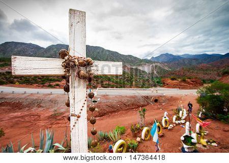 Sanctuary of Difunta Correa on side of the road in La Rioja Argentina