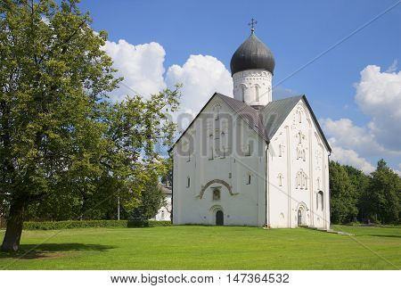 View of the old Church of the Transfiguration, sunny day in July. Veliky Novgorod