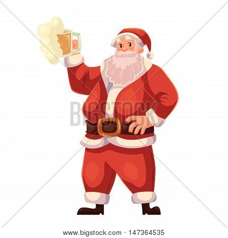 Santa Claus raising a beer glass, cartoon style vector illustration isolated on white background. Full length portrait of Santa with a glass of beer, Christmas decoration element