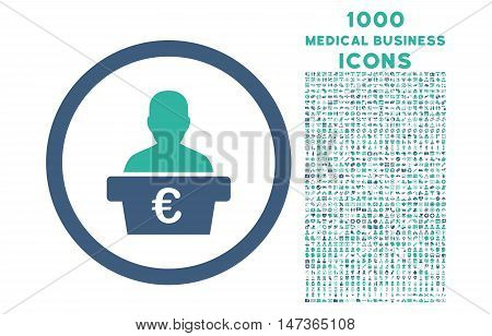 Euro Politician rounded vector bicolor icon with 1000 medical business icons. Set style is flat pictograms, cobalt and cyan colors, white background.