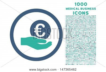 Euro Salary Hand rounded vector bicolor icon with 1000 medical business icons. Set style is flat pictograms, cobalt and cyan colors, white background.